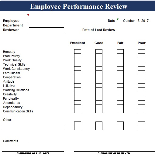 simple employee performance review template excel and word excel tmp. Black Bedroom Furniture Sets. Home Design Ideas