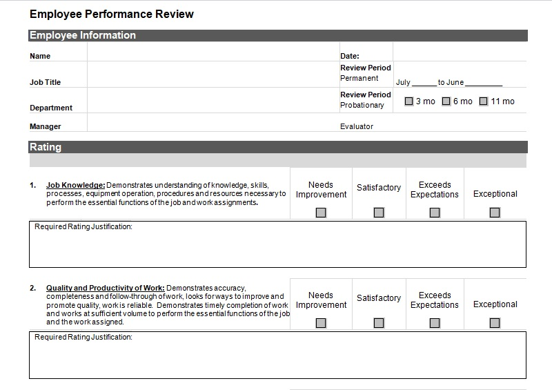 Employee Performance Review Template  Performance Review Template Word