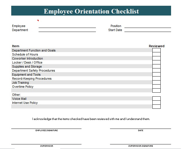 new employee orientation checklist template excel and word excel tmp. Black Bedroom Furniture Sets. Home Design Ideas