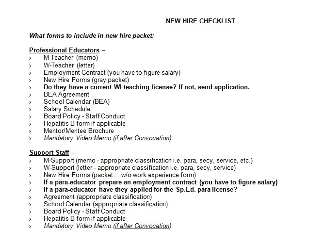 new employee orientation checklist template word