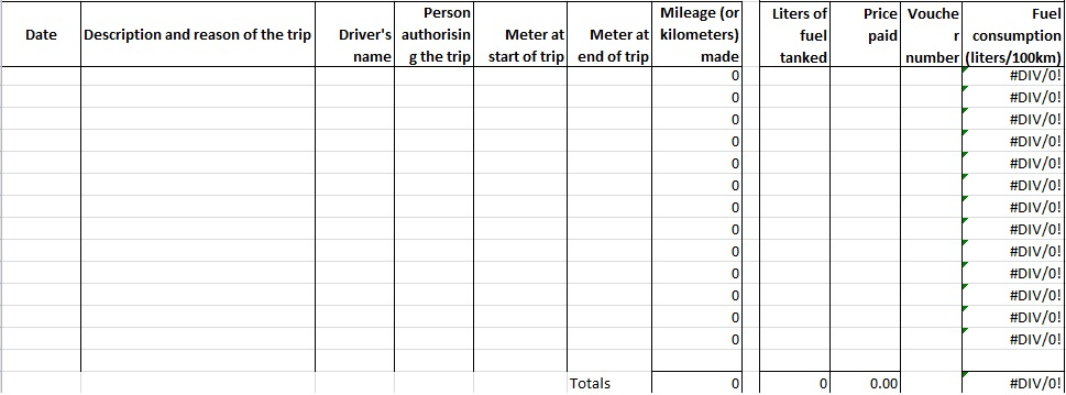vehicle maintenance log book excel