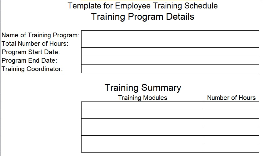 download employee training schedule template for company excel tmp. Black Bedroom Furniture Sets. Home Design Ideas