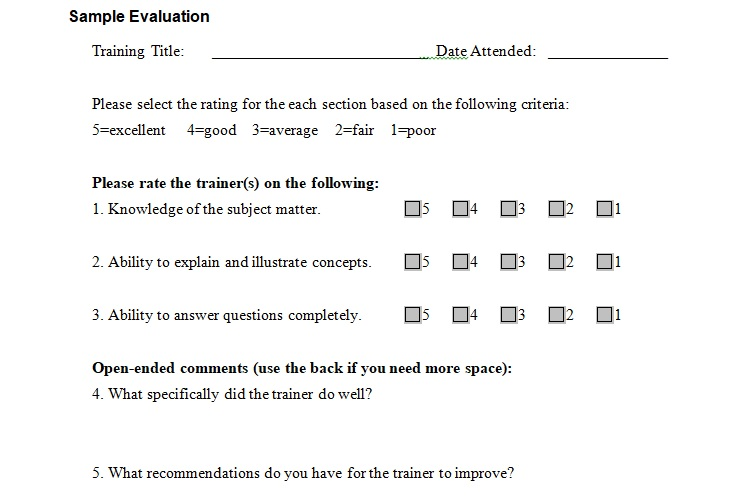 Sample Training Evaluation Form Template