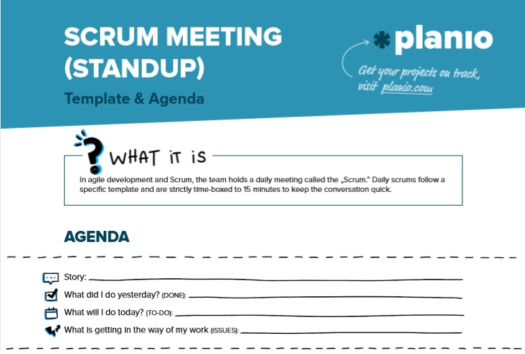 scrum daily standup template