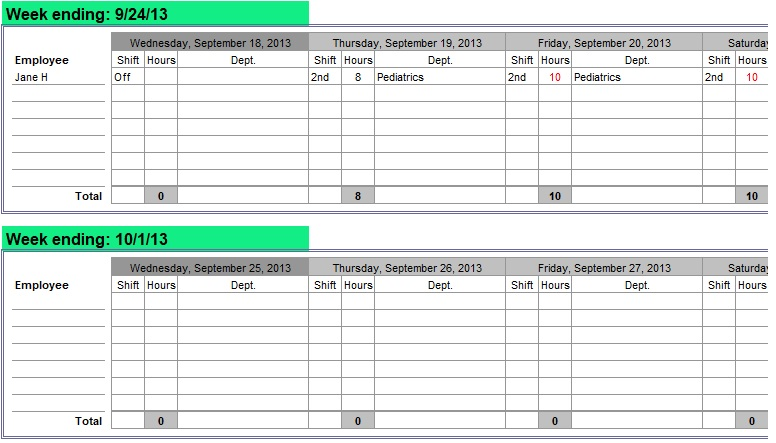 Nurse Staffing Schedule Template