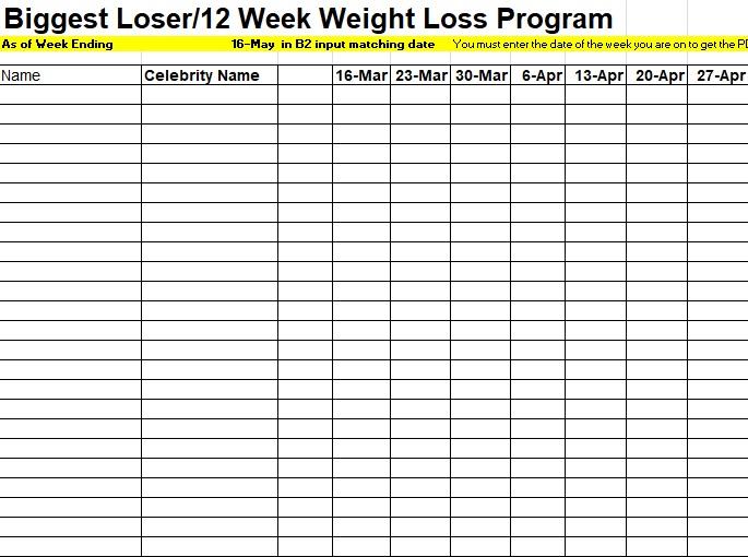 biggest loser spreadsheet 12 weeks