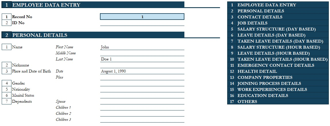 employee database management template