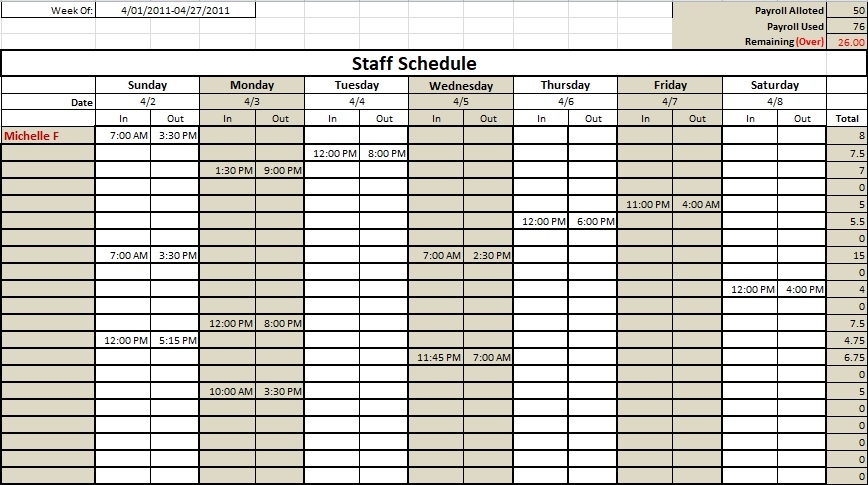 nursing staff schedule template