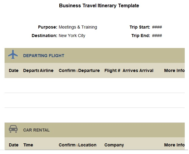 free business travel itinerary template excel