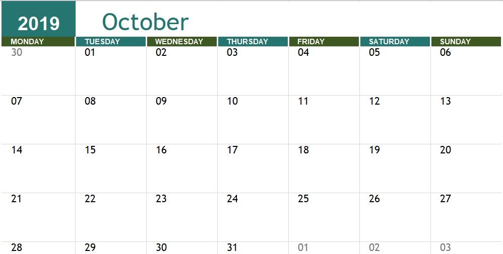 monthly academic calendar template