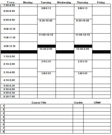 college class schedule template printable