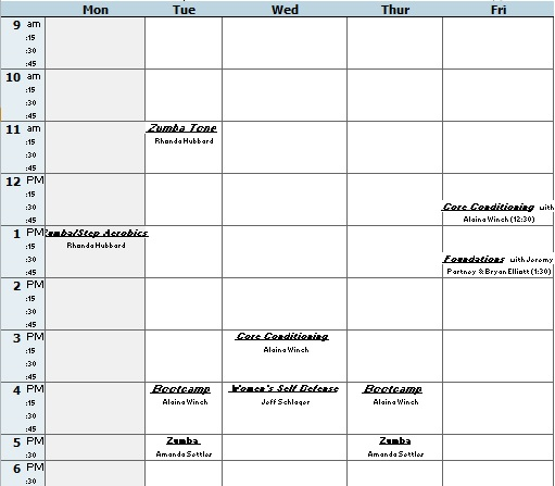 college fitness class schedule excel template