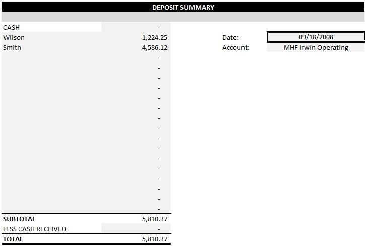 quickbooks deposit slip template