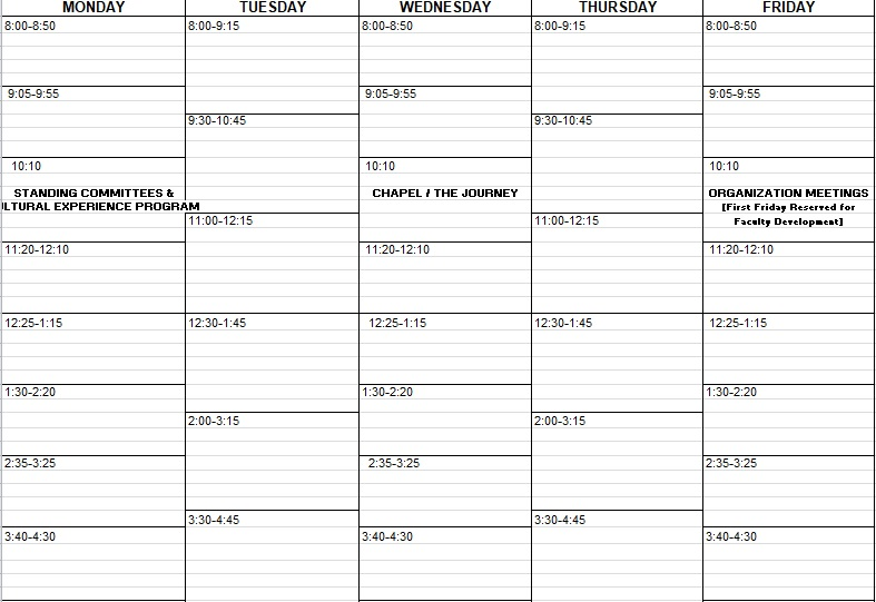 weekly class schedule template in excel