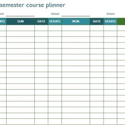 college semester course planner template excel