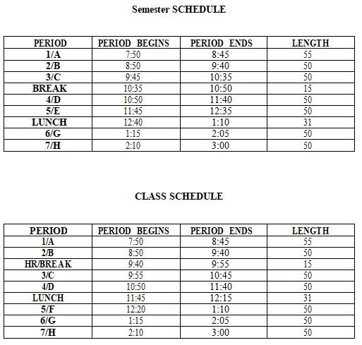 free semester schedule template