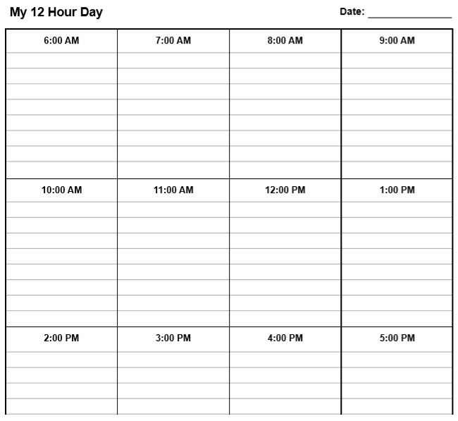 12 hours daily school schedule