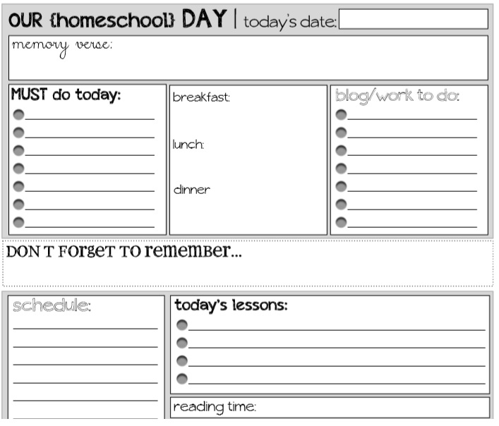 homeschool daily schedule template