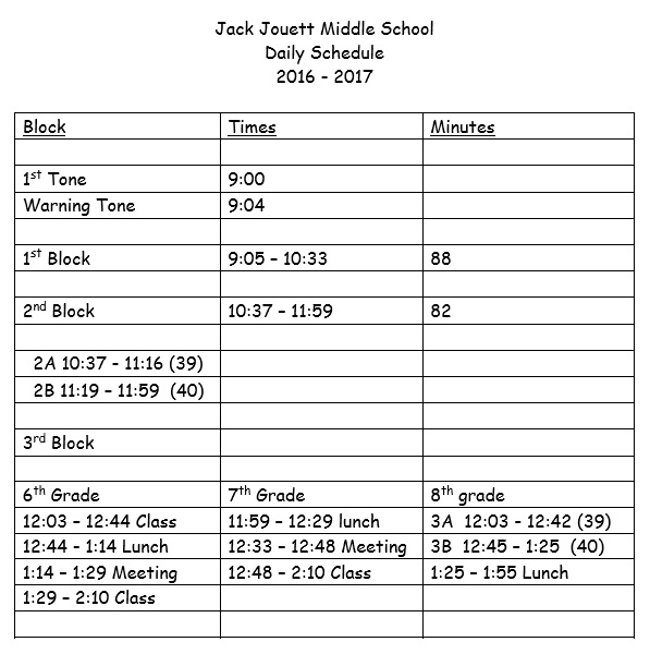 schedule for middle school