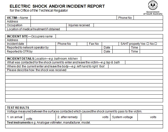 electric shock incident report form