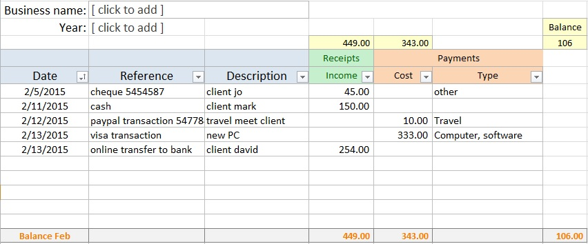free bookkeeping spreadsheet
