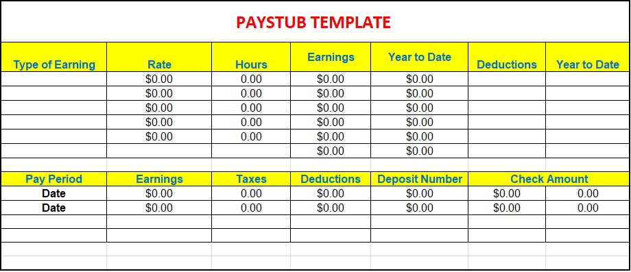 free fillable pay stub form