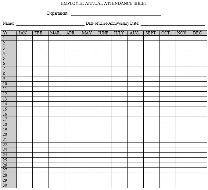 free yearly employee attendance record