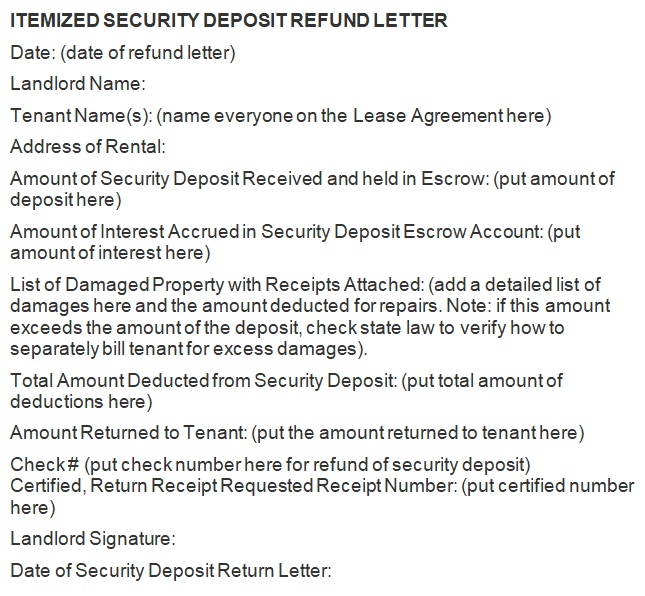 landlord security deposit return letter