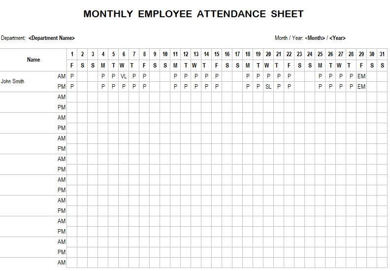 monthly attendance sheet with time in excel