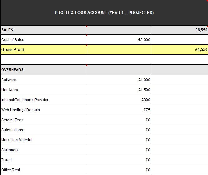 profit loss statement template