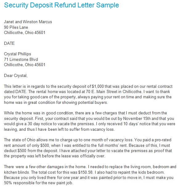 sample security deposit refund letter from landlord