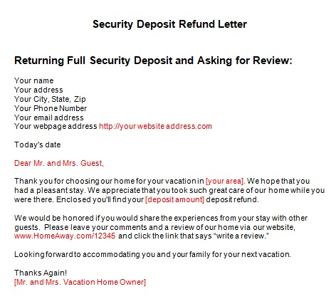 security deposit refund letter