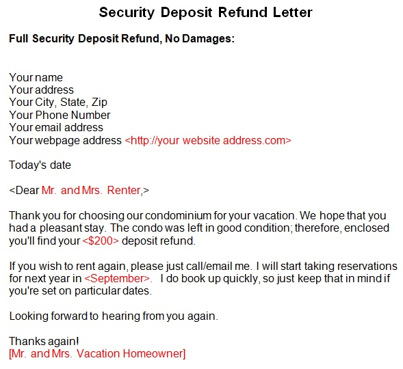 security deposit return letter