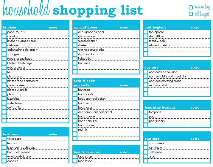 shopping list template excel