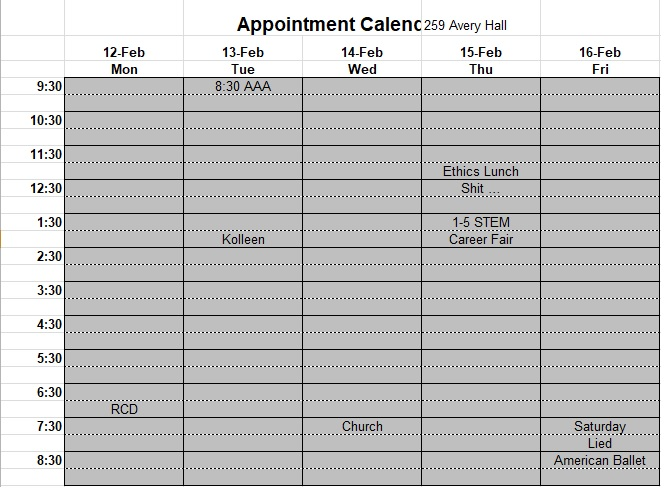 appointment schedule template excel