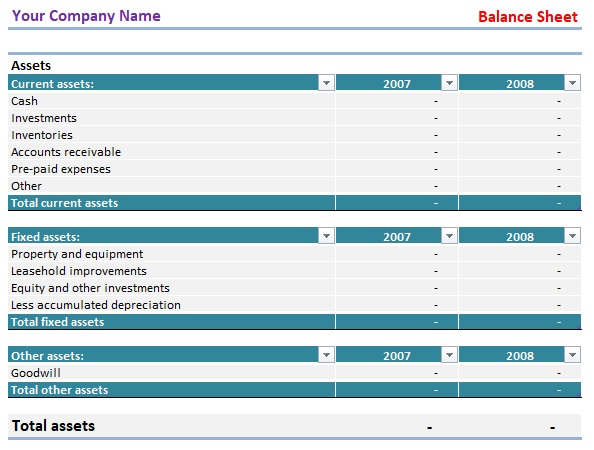 balance sheet template free excel