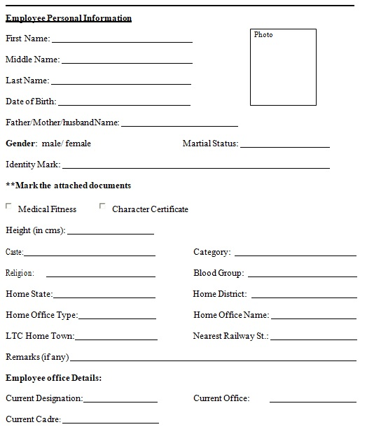 basic personal information form