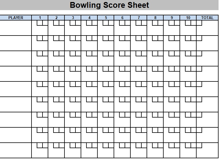 bowling league score sheet template