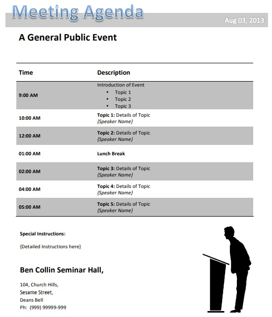conference schedule meeting agenda for public event