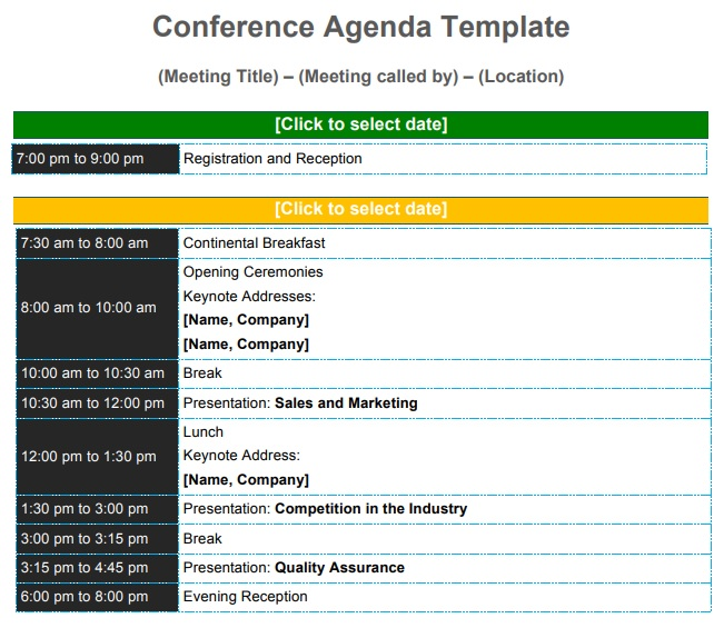 conference schedule template Presentation