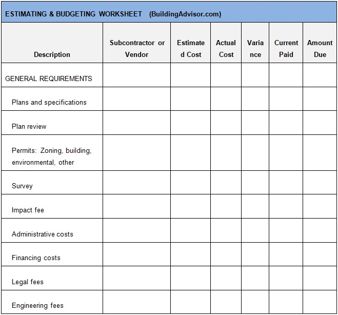 construction contract estimate template