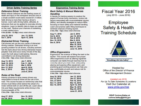 employee safety training schedule template