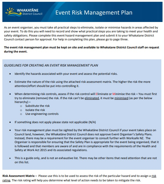 event risk management plan