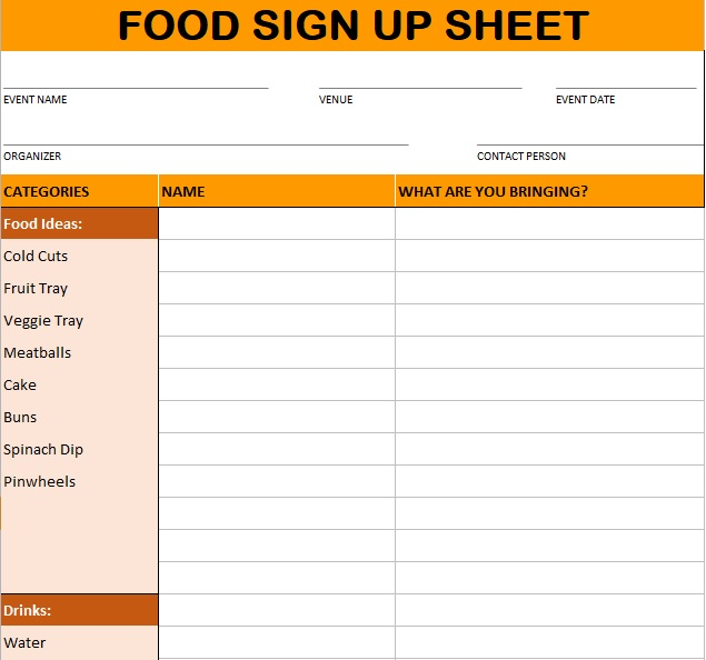 food sign up sheet