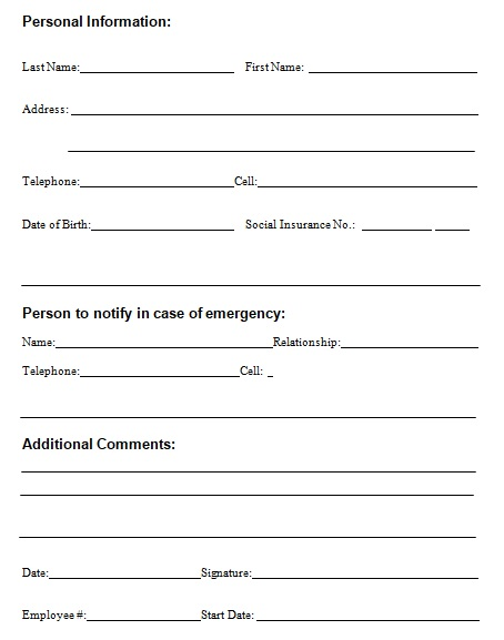 free employee information form