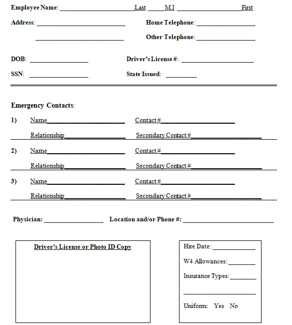 free employee personal information sheet