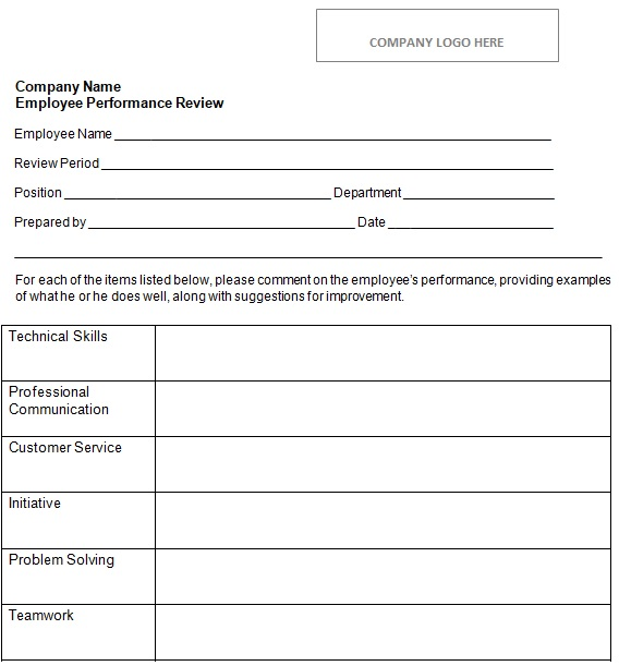 free employee review form printable