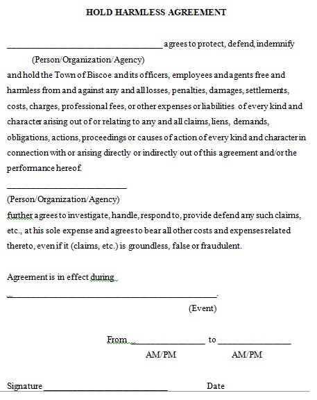 generic hold harmless agreement