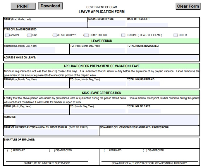 government of guam leave application form