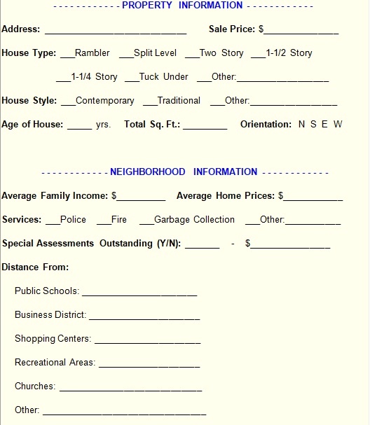 home inspection form template free